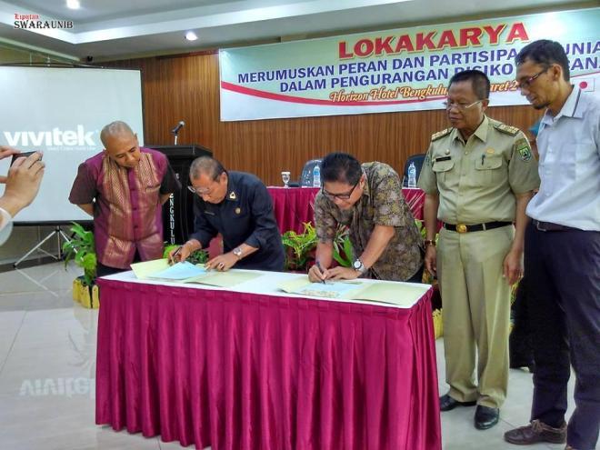 FPRB dan KADIN Provinsi Bengkulu Tandatangani MoU Penanggulangan Resiko Bencana
